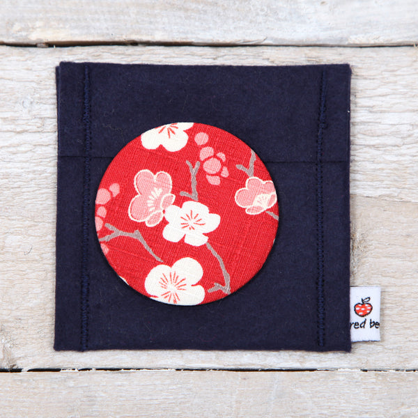 Red Cherry Blosson Fabric Mirror And Pouch