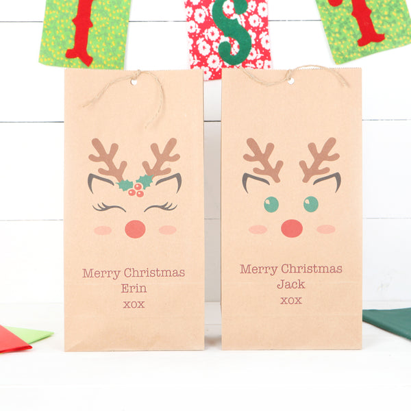 Personalised Boy Or Girl Reindeer Christmas Gift Bag