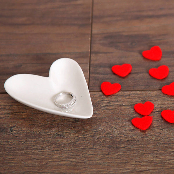 White Porcelain Valentines Love Heart Jewellery Tray