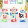 Three Wind Up Wooden Robots And Personalised Bag