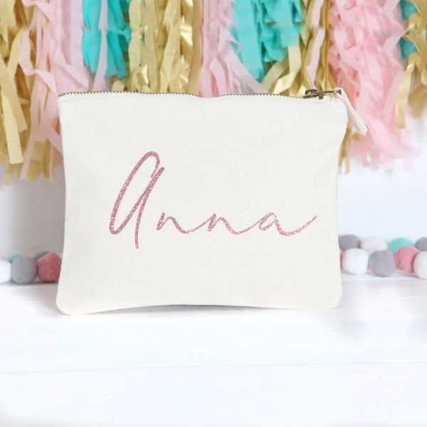 Personalised Cream Pouch With Rose Gold Lettering