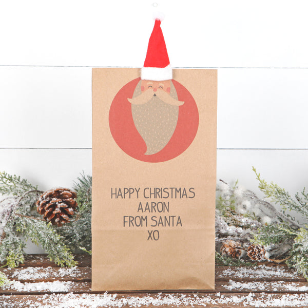 Christmas Personalised Santa Gift Bag With Hat Peg