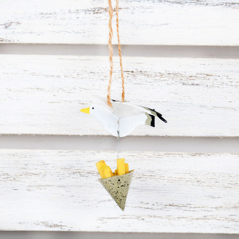 Hanging Seagull With Stolen Chips Decoration