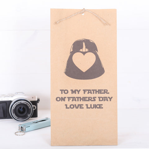 Personalised Love Heart Star Wars Father's Day or Birthday Gift Bag