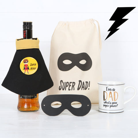 Dad Mug, Super Hero Mask, Bag, Personalised Bottle Cape