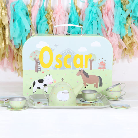 Farmyard Tin Tea Set With Personalised Case