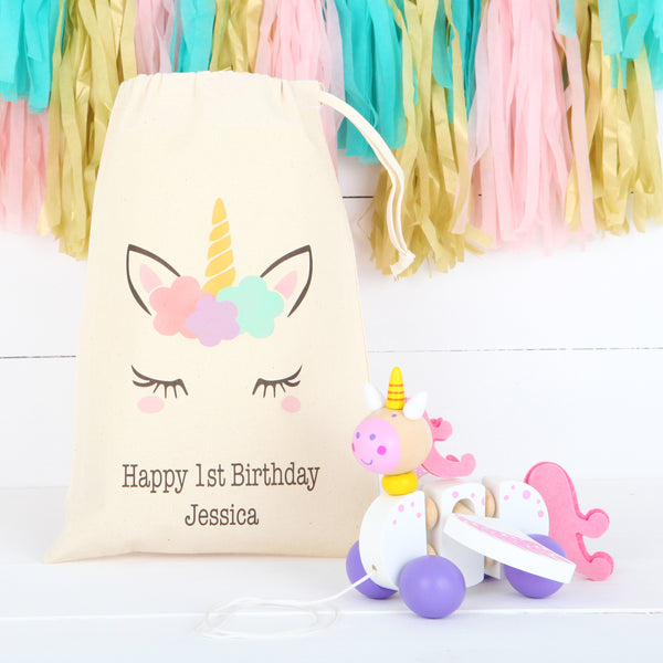 Personalised Cotton Bag And Unicorn Pull Along Toy