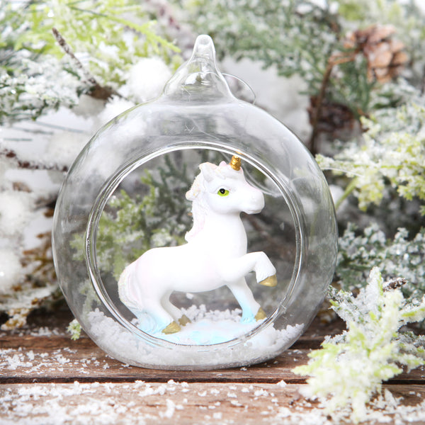 Glass Open Front Christmas Tree Bauble With Unicorn