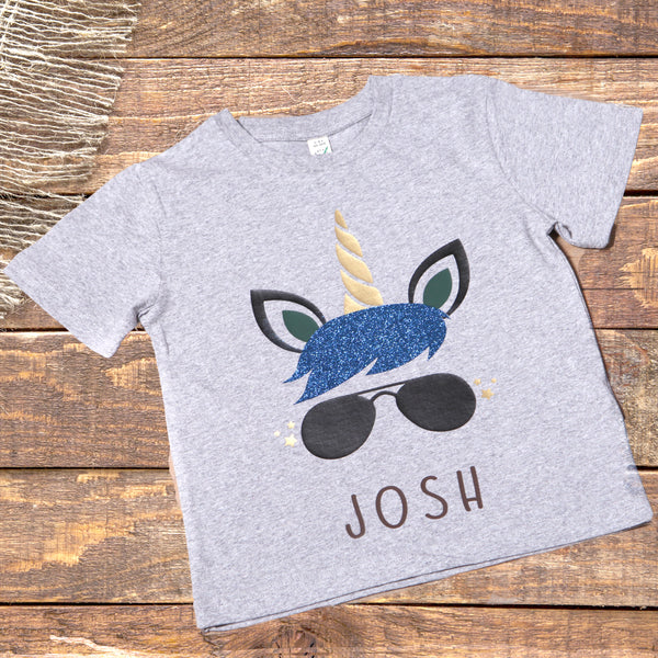Childs Boy Unicorn Personalised Organic T Shirt