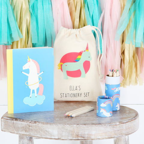 Unicorn Stationery Set With Personalised Bag