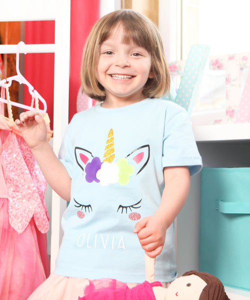 Girls Personalised Unicorn Eyelash T Shirt