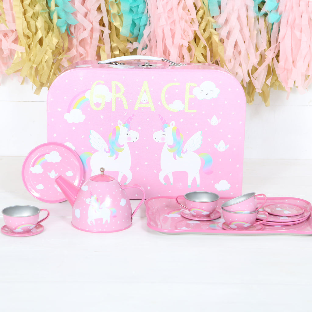 Unicorn Tin Tea Set With Personalised Case