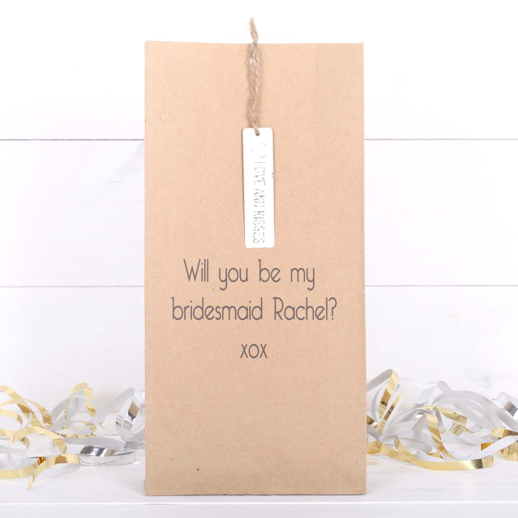 Personalised Be My Bridesmaid Message And Tag Bag