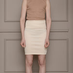 By Signe organic cotton high waisted fold skirt sustainable womenswear fashion made in Denmark white front view