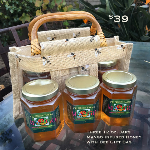3-Jar Local Mango Infused Honey with Tote Bag