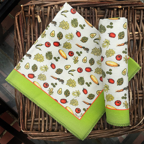 Set of 2 VRGF Veggie Collage Cotton Dinner Napkins