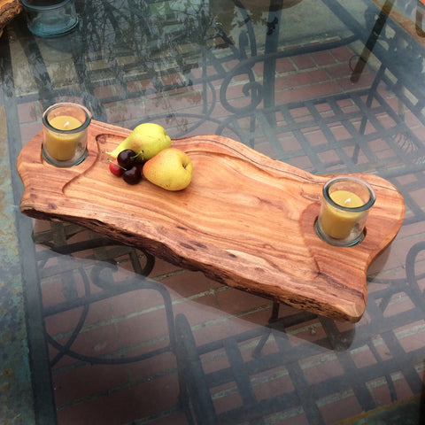 Double Candle Acacia Wood Serving Tray