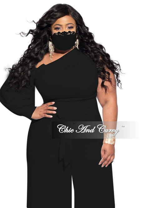 Final Sale Plus Size Chiffon Palazzo Pants in Black