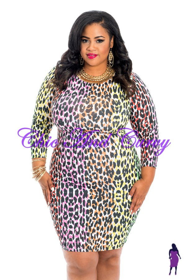 Outlet BodyCon Colorful Cheetah Print Dress - Final Sale - No Returns or Exchanges