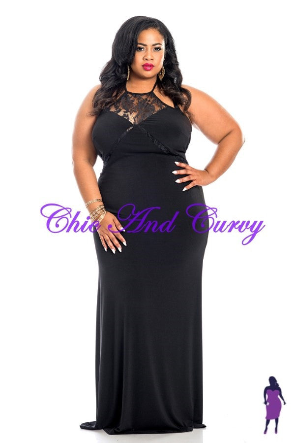 New Plus Size Body Con Lace Inset Halter Maxi Gown
