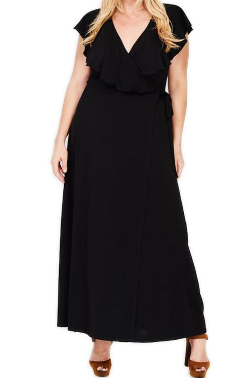 New Plus Size Ruffled Wrap Maxi Dress in Black