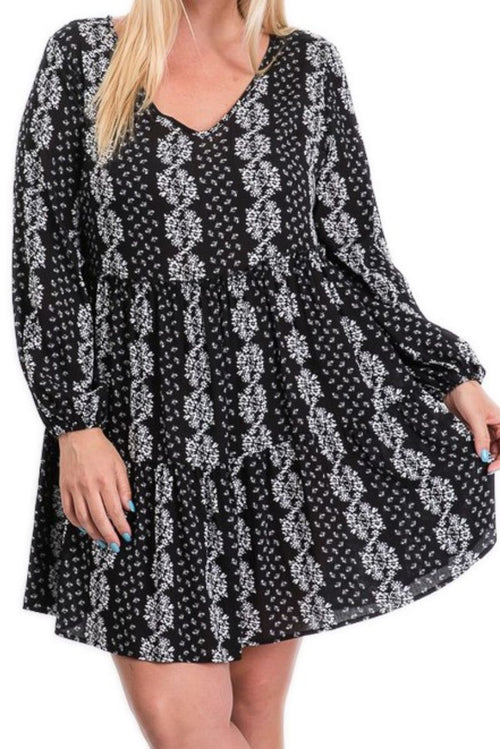 New Plus Size Bohemian Babydoll Dress in Black & White Print
