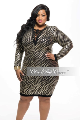 New Plus Size BodyCon Lace Up Dress in Gold and Black Glitter Fabric
