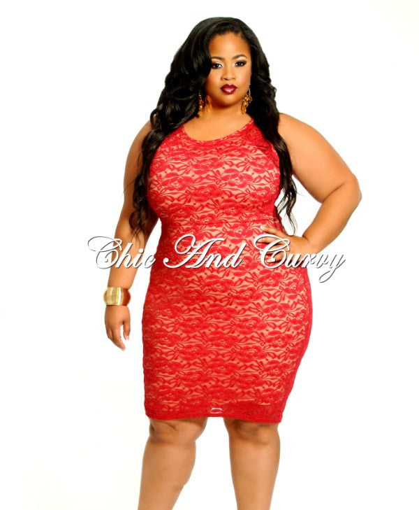 New Plus Size BodyCon Sleeveless with Lace Overlay in Red and Khaki