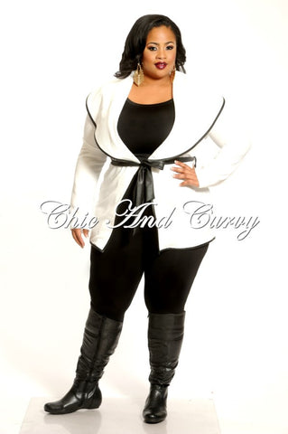 50% Off Sale - Final Sale Plus Size Wide Lapel Jacket with Zebra Imprint and Belt in White
