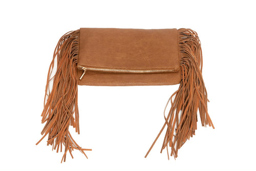 Final Sale Leather Clutch Purse with Side Fringe in Camel