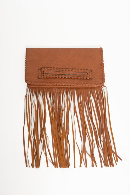 Final Sale Leather Clutch Purse with Bottom Fringe in Cognac