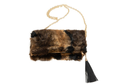 Final Sale Fur Clutch with Wooden Handle in Black & Gold
