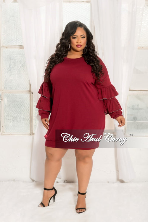 Final Sale Plus Size Sweatshirt Dress with Ruffle Sleeves and Silver Ball Trim in Burgundy