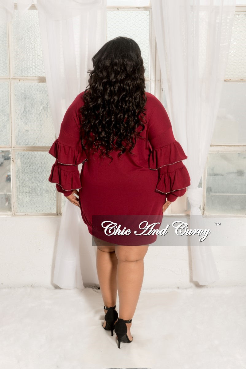 New Plus Size Sweatshirt Dress with Ruffle Sleeves and Silver Ball Trim in Burgundy
