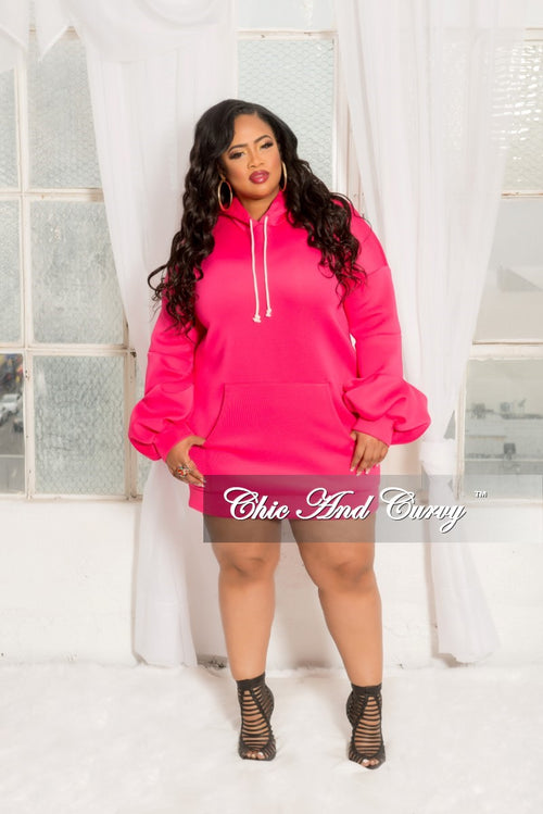 Final Sale  Plus Size Pull Over Hooded Dress with Puffy Sleeves in Hot Pink