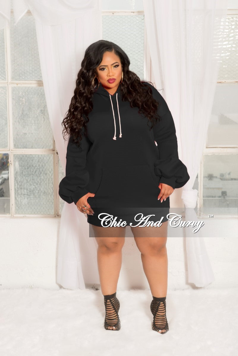 New Plus Size Pull Over Hooded Dress with Puffy Sleeves in Black