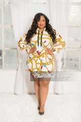 Final Sale Plus Size Pull Over Hooded Chain Print Dress with Puffy Sleeves in White