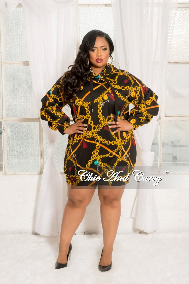New Plus Size Pull Over Hooded Chain Print Dress with Puffy Sleeves in Black