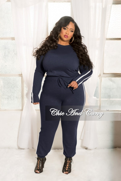 Final Sale Plus Size 2-piece Jogger Set in Blue with White Trim