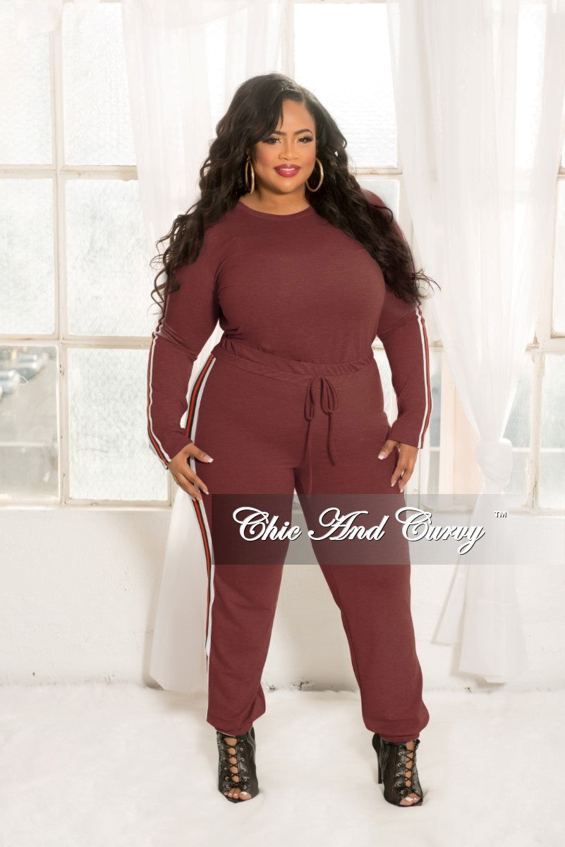 New Plus Size 2-Piece Top and Pants Set in Burgundy with White Black and Red Trim