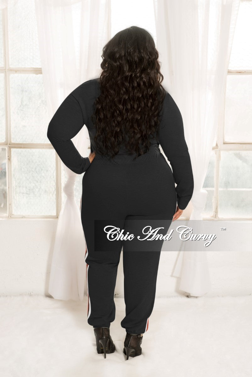 New Plus Size 2 Piece Top and Pants Set in Black with White Black and Red Trim