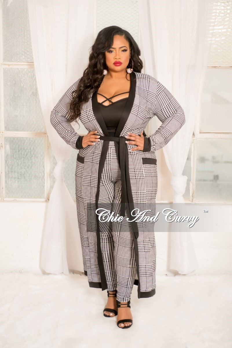 New Plus Size Flocked Plaid 2-Piece Maxi Cardigan and Pants Set in Black and White