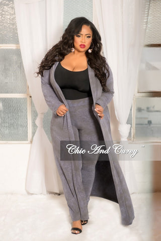 Final Sale Plus Size 2 Piece Duster and Pants Set in Black