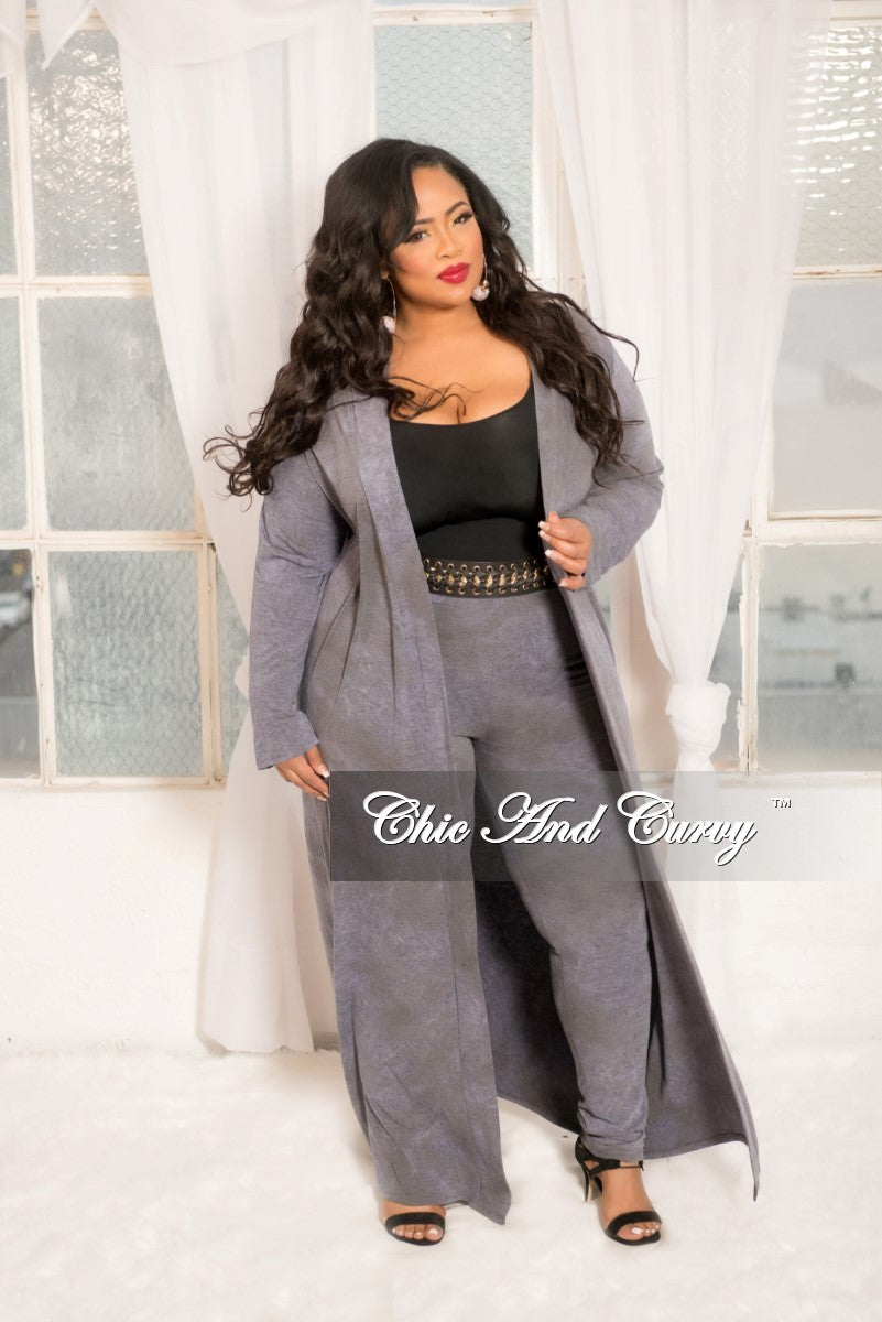 New Plus Size 2-Piece Duster and Pants Set in Grey Blue