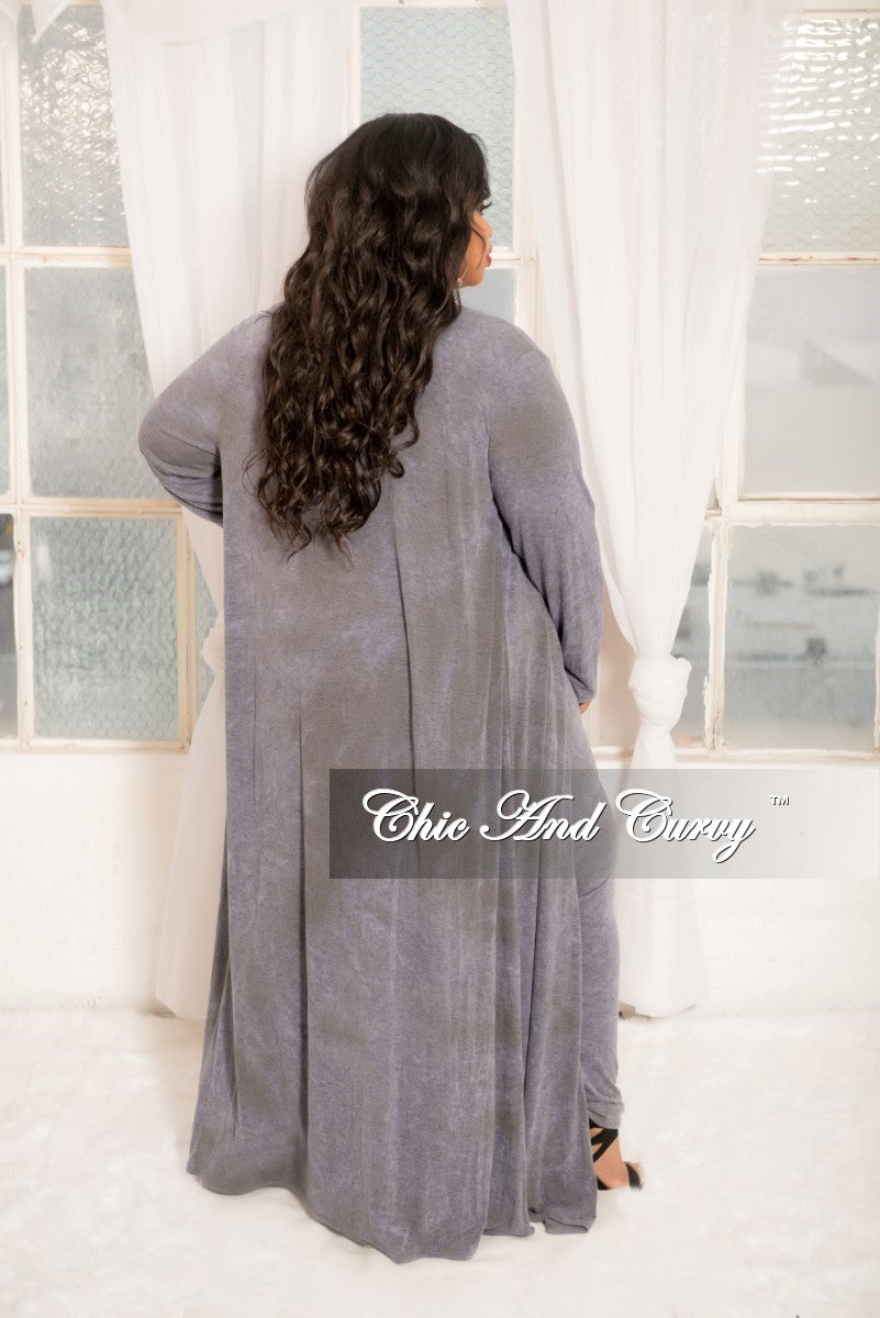 Final Sale Plus Size 2-Piece Duster and Pants Set in Grey Blue