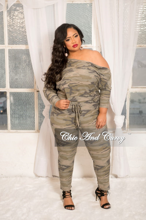 New Plus Size Off the Shoulder Jumpsuit with Silver Side Zipper in Camouflage Print
