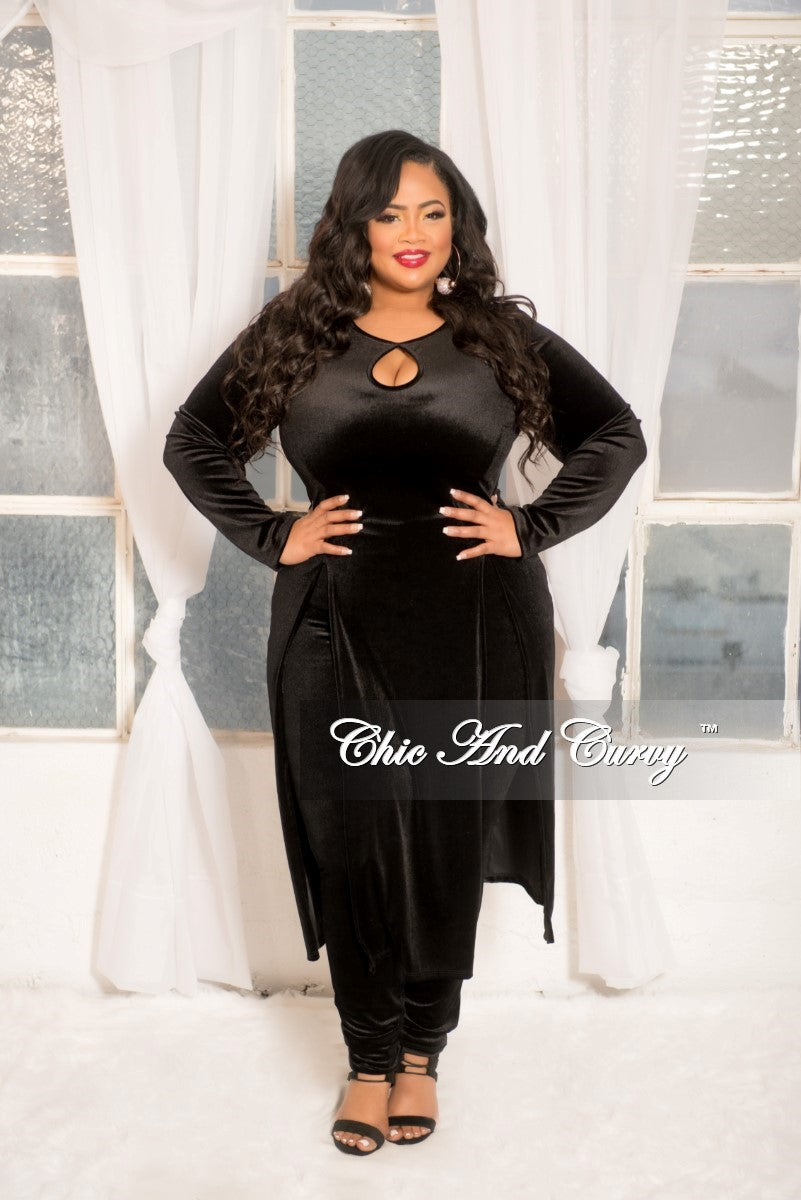 New Plus Size Velvet 2 Piece Top and Pants Set with Front Cutouts and Side Slits in Black