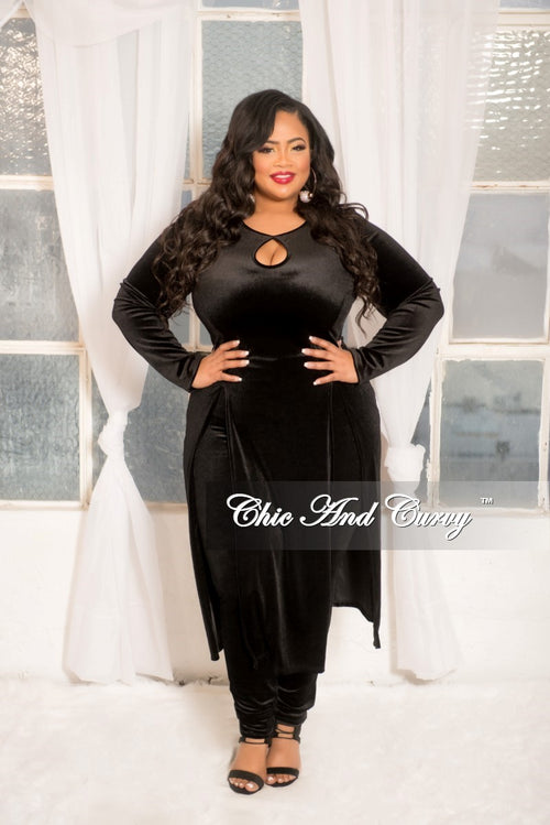 Final Sale Plus Size Velvet 2 Piece Top and Pants Set with Front Cutouts and Side Slits in Black
