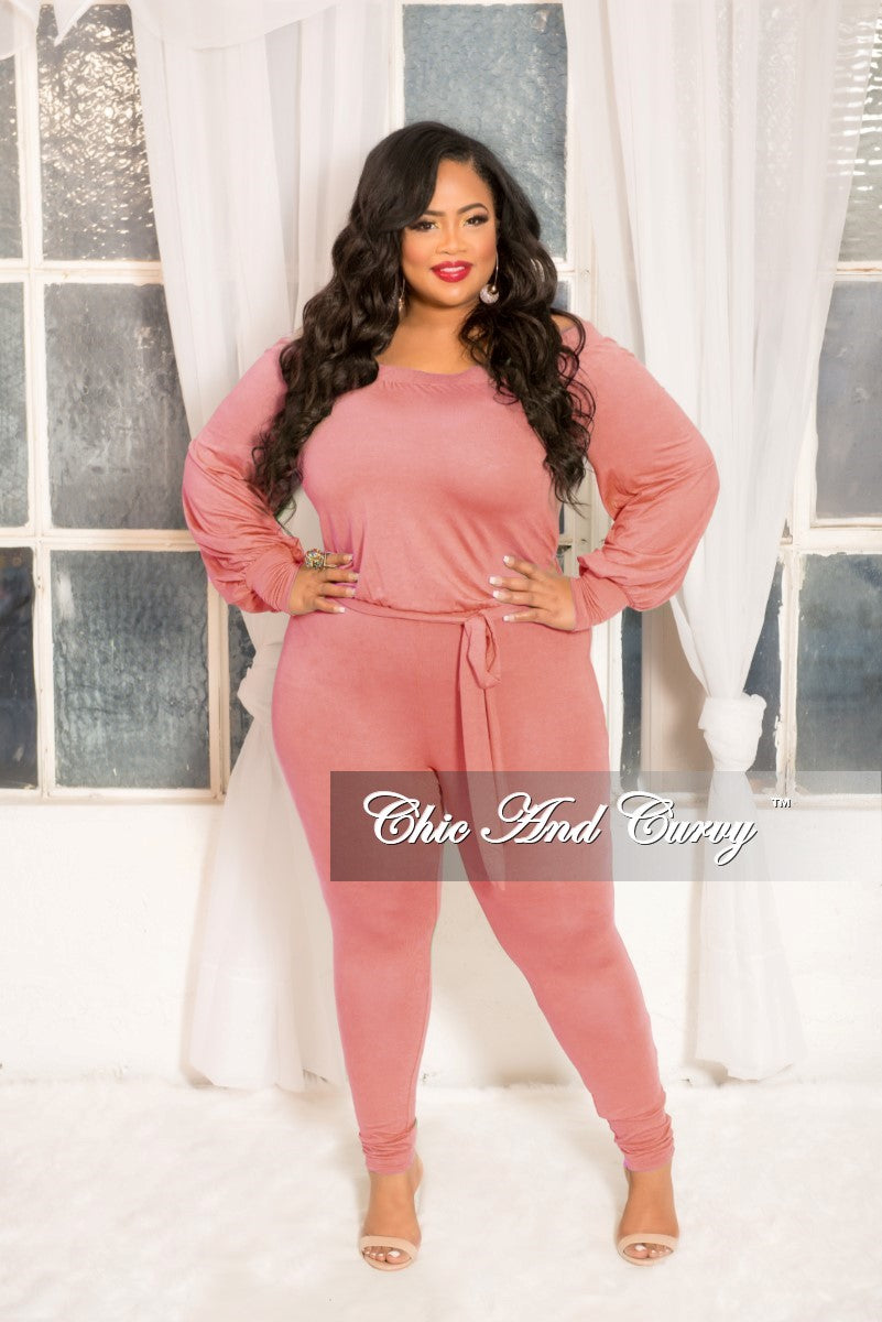 893e8a573d4a5 Final Sale Plus Size Long Sleeve Off The Shoulder Jumpsuit in Mauve – Chic  And Curvy