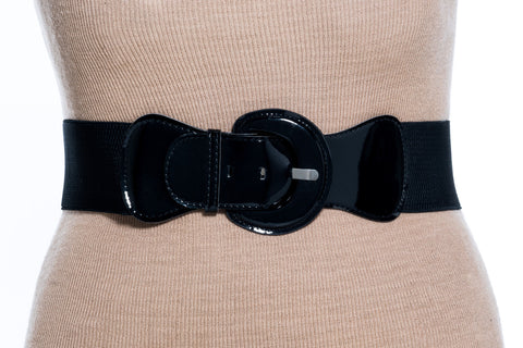 Final Sale Plus Size Belt Elastic Black Band and Black Buckle